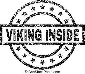 viking, グランジ, 切手, 中, textured, シール