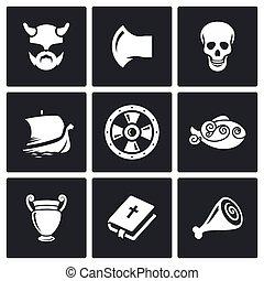 viking, ベクトル, illustration., icons.