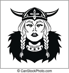 viking, ベクトル, warrior., イラスト, 女