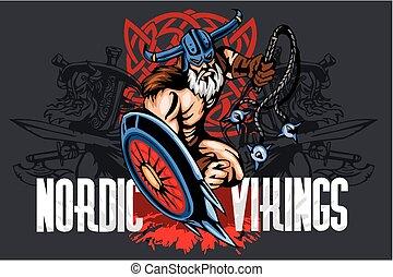 viking, 保護, bludgeon, norseman, 漫画, マスコット