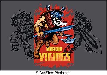 viking, 戦士, 剣, 大きい