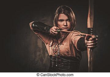 viking, 戦士, 女, 衣服, 弓, 伝統的である, バックグラウンド。, ポーズを取る, 矢, 暗い, 深刻