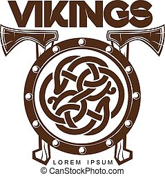 viking, 戰斗, 軸, 盾