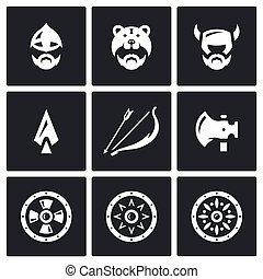 viking, 武器, セット, ベクトル, アイコン