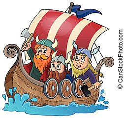 viking, 1, barco, tema, imagen