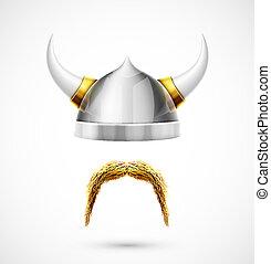 Viking accessories (helmet and mustache), eps 10