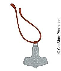Viking amulet silver pendant on rope Mjolnir hammer of Thor