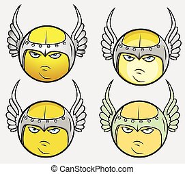 Viking Angel Smiley Vector Set