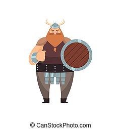 viking, antigas, plataformas, red-bearded, ameaça, sobre, punho, fundo, branca, escudo