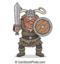 viking, arrabbiato, scudo, spada, stare in piedi