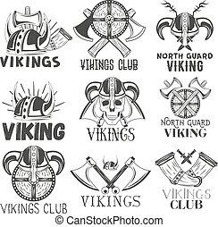 viking, badges., sätta, elementara, vikings, krigare, årgång, etiketter, ikonen, hjälm, vektor, design, yxa, symboler, style., logo