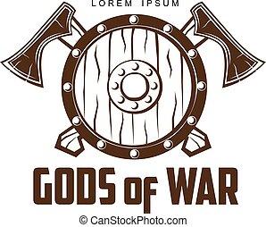 viking, battaglia, asce, scudo