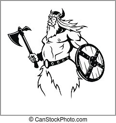 viking, battaglia, preparare, ascia