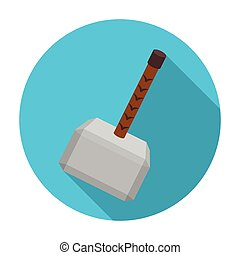 Viking battle hammer icon in flat style isolated on white background. Vikings symbol stock vector illustration.