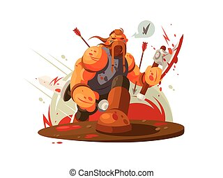 Viking battle with ax