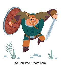 Viking. Big strong muscular orange warrior viking with sword and shield furiously attacks. Design concept with flat human character of with cartoon vector isolated illustration.