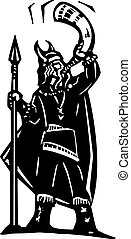 Viking blowing War Horn - Woodcut style image of a viking...