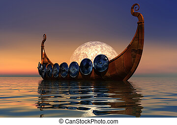 VIKING BOAT 2 - The boat and battle armor of the Viking...