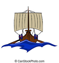 Viking boat 2 - Vector illustration : Viking boat sketch on...