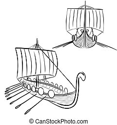Viking boat 3 - Vector illustration : Viking boat sketch on...