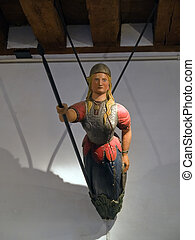 Old Viking wooden boat ship figurehead