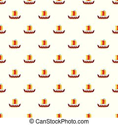 Viking boat pattern seamless vector