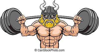viking, bodybuilding, gewichtsheffen, mascotte