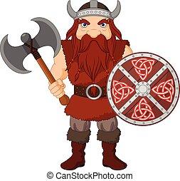 viking, bois, dessin animé, bouclier, hache