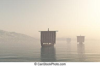 viking, brume, par, longships, approchant
