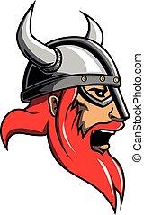 viking, cabeza, diseño, ilustración