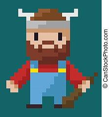 viking, carácter, sombrero, pixel, arma, enastado