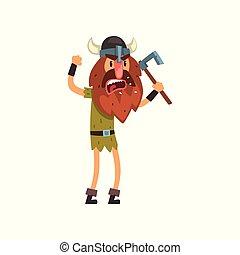 viking, carattere, illustrazione, vettore, ascia, furioso, cartone animato