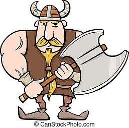 viking, cartone animato, illustrazione