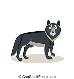 Viking cartoon character. A large gray wolf, an assistant to the god Odin. Witch. Black Raven. Vector illustration. Flat style.