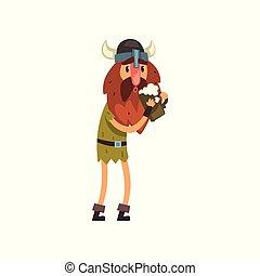 Viking cartoon character holding tankard of ale vector Illustration