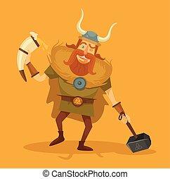 viking, con, un, cerveza