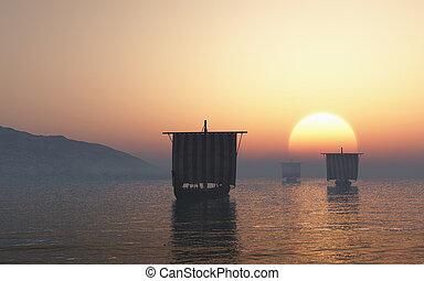 viking, coucher soleil, longships, approchant
