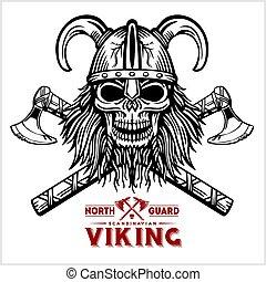 viking, cruzado, cranio, machado