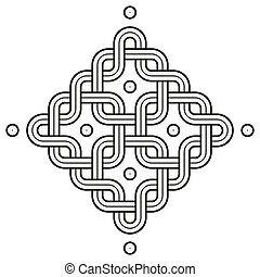 Viking Decoration Knot - Chained Rounded Squares Snake Frame Dot Corners