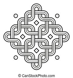 Viking Decoration Knot - Chained Rounded Squares Snake Frame