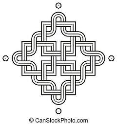 Viking Decoration Knot - Chaned Squares Snake Frame Dot Corners
