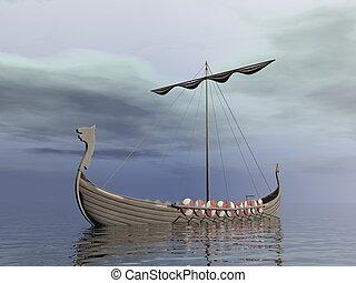 viking, drakkar, -, render, 3d
