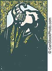 Viking Drinking from a Drinking Horn - Woodcut style ...