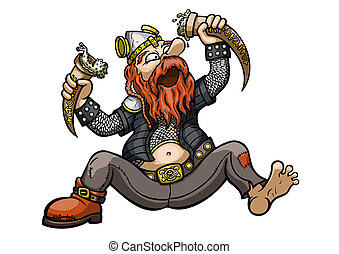 Viking Drinks from Drinking Horns - Illustration a cartoon...