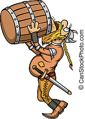 Viking Drunk - Cartoon viking drinking beer from a barrel