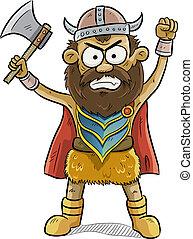 viking, enojado, hombre
