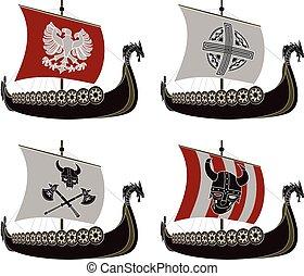 viking, ensemble, drakkars