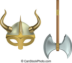 viking equipment - vector illustration of viking helmet and ...