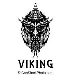 viking, escandinavo, antiga, guerreira, cabeça, vetorial, ícone