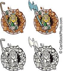 viking, escudo, quebrar, madeira, através, mascote